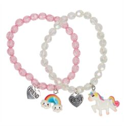 BFF Bracelet Beads with Unicorn and Rainbow, 2pcs.