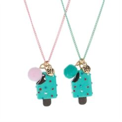 BFF Necklace with Ice Cream and Pompom, 2pcs.